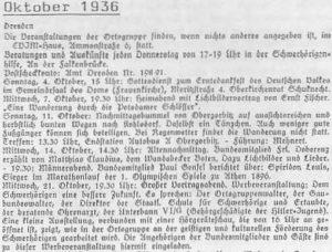 Ausschnitt aus dem Monatsprogramm der Dresdner Ortsgruppe für Oktober 1936